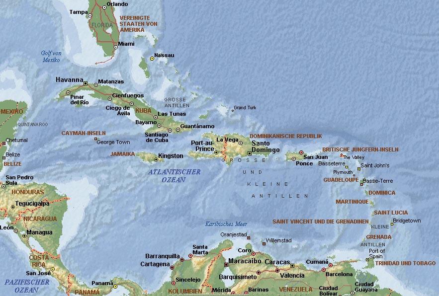 Kleine Antillen Karte.Landkarte Domrep Dominikanische Republik Informationen